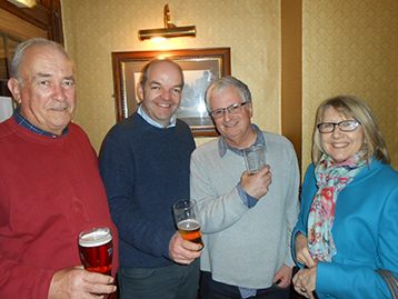 Maurice holds court at the Nottingham with Cleethorpes newshound Nigel Lowther and Mr. & Mrs. Tondeur.