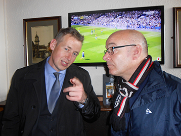 At the Notts, Town Scout and friend of the Histon Mariners Jed explains the offside rule to a bemused Stuart.