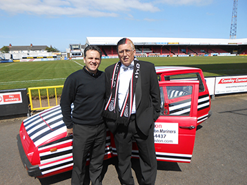 At Blundell Park Dave Smith welcomed the Logistics Director at the outset of his promotional campaign.
